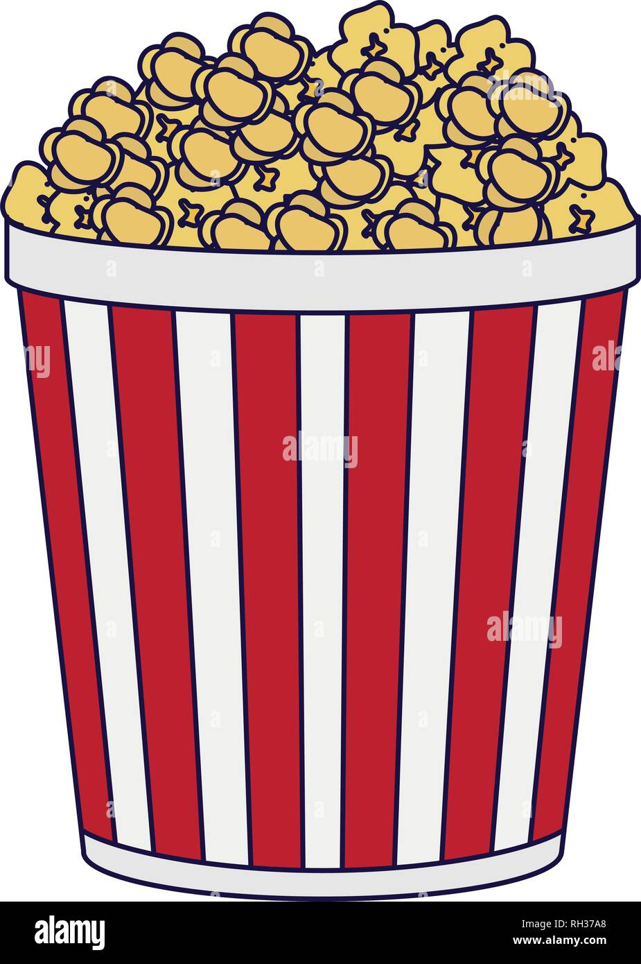 Pop Corn Bucket Snack Blue Lines Stock Vector Image Art Alamy