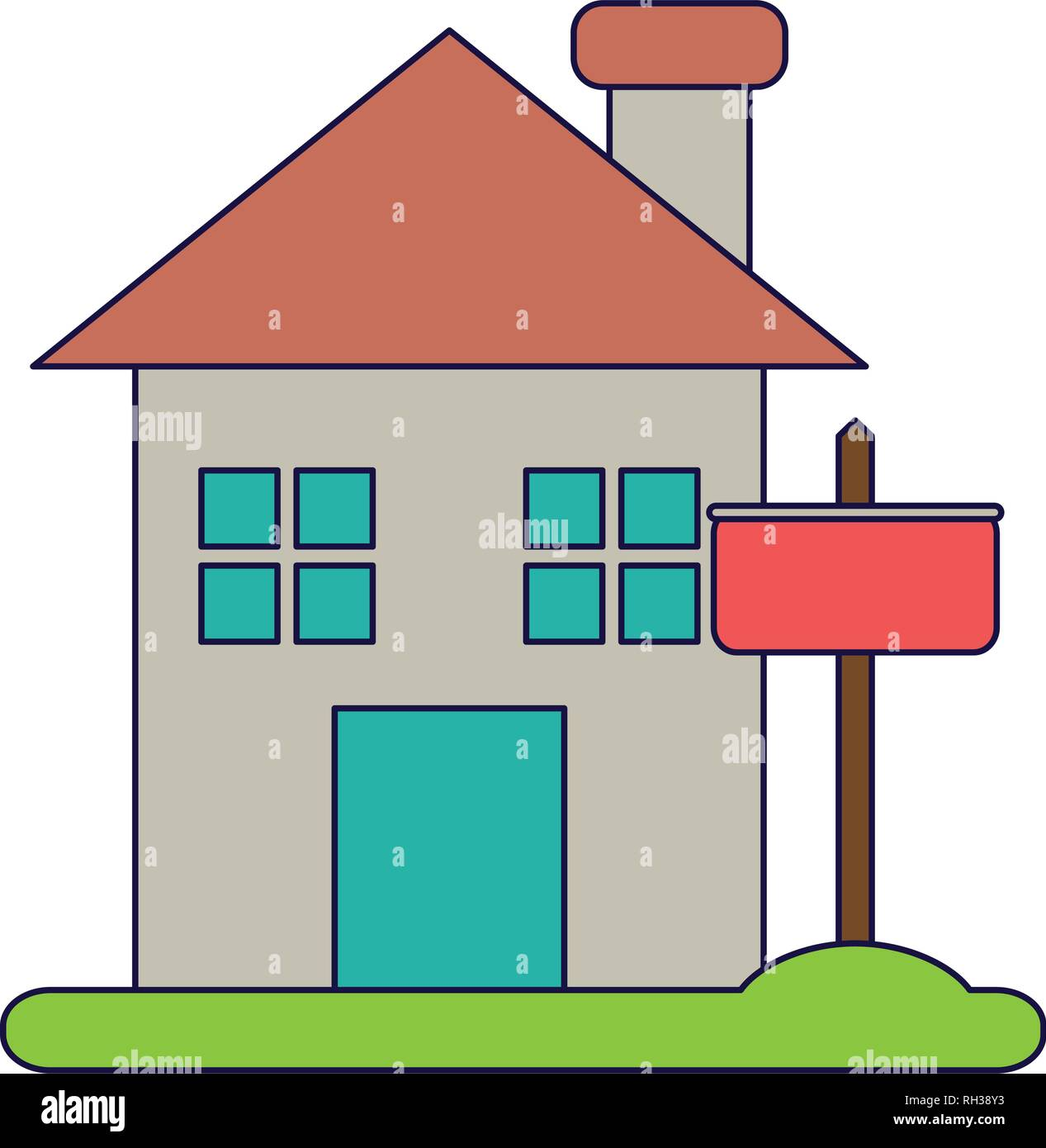 Real estate house blue lines - Stock Image
