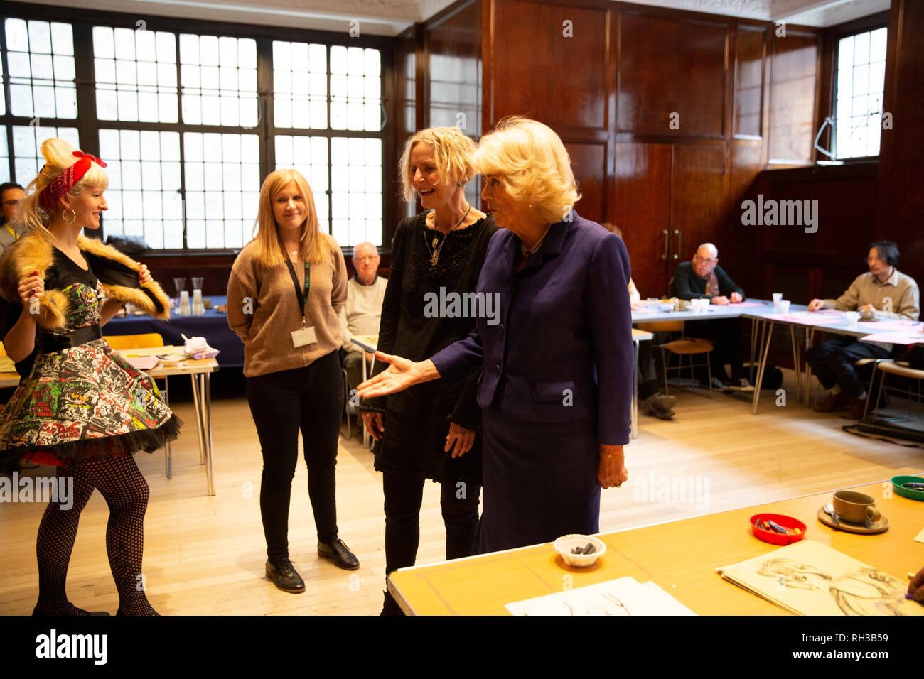 The Duchess Of Cornwall Visiting The Refurbished Wolfson British Academy Room Where An Art Class Run