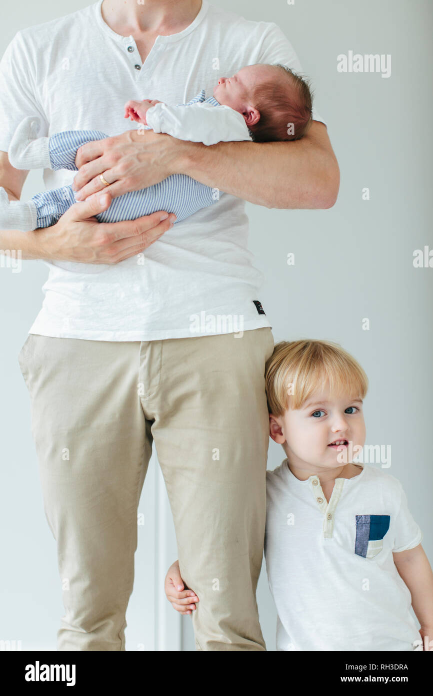 Father with two children - Stock Image