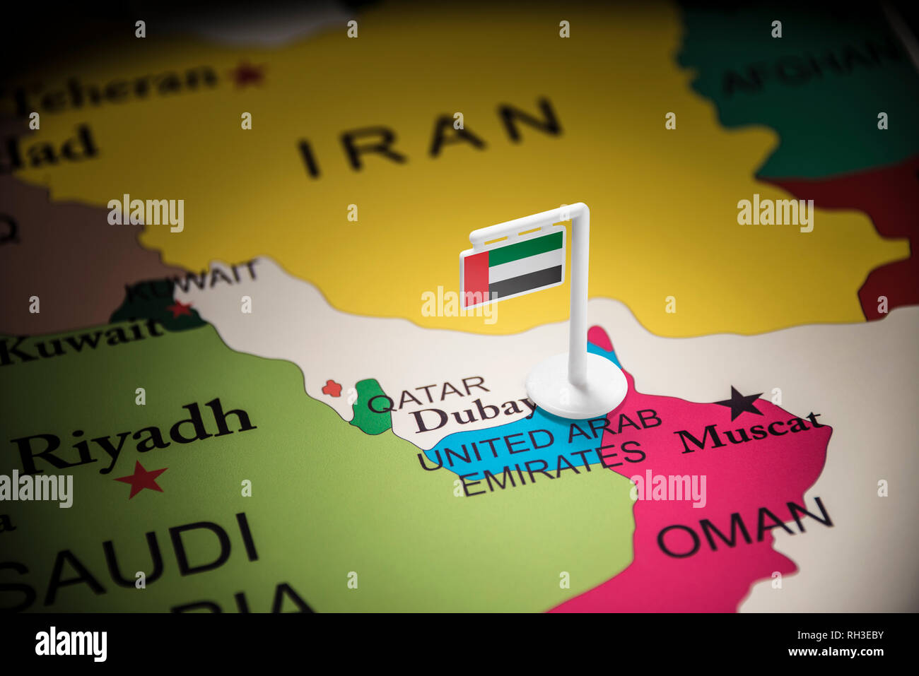 United Arab Emirates marked with a flag on the map - Stock Image