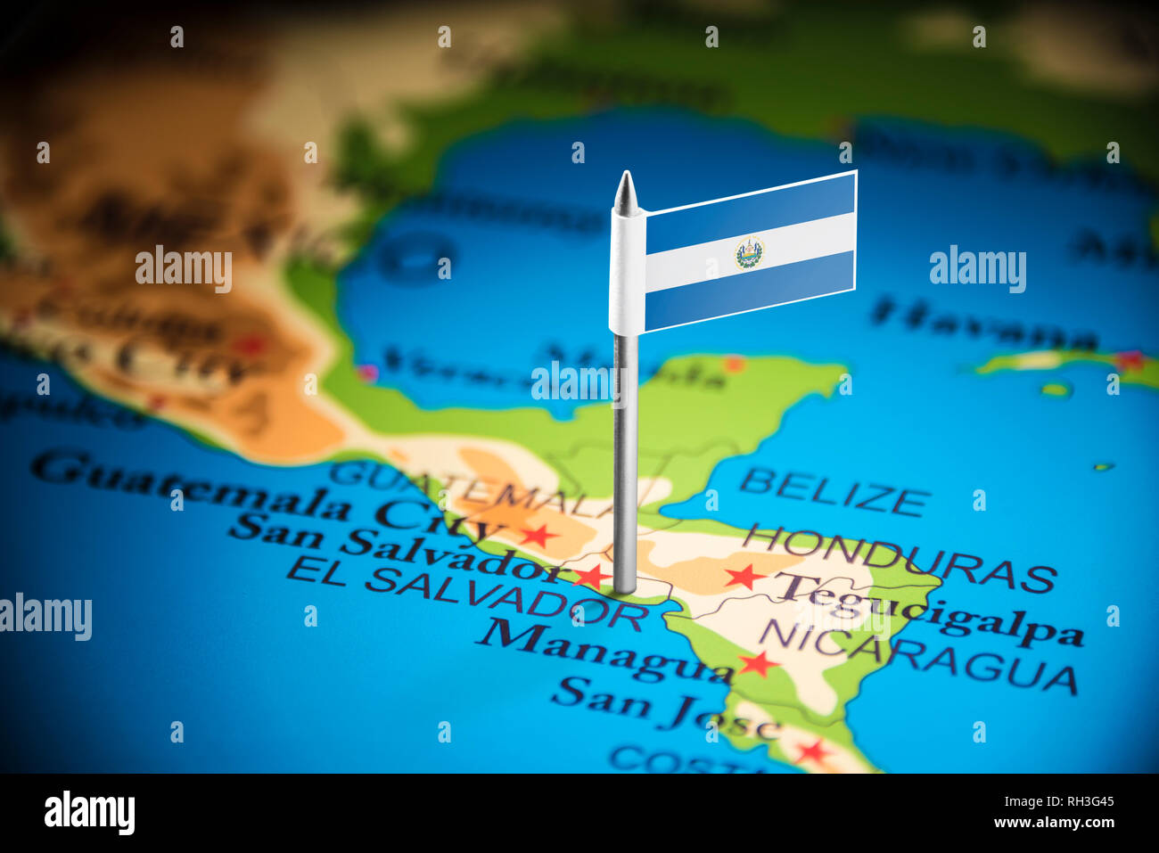 Salvador marked with a flag on the map - Stock Image