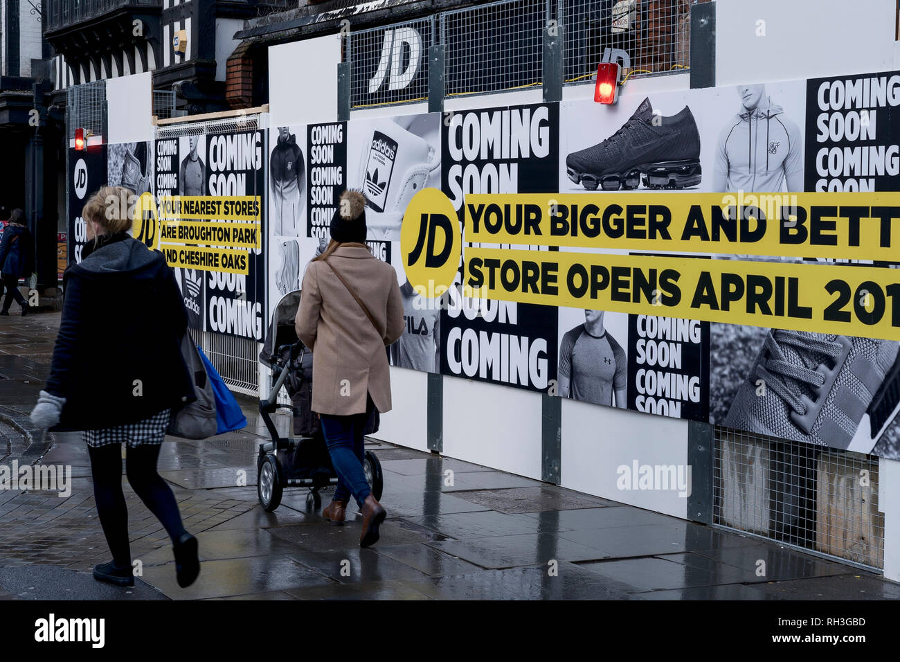 83af3e1b8de60 People walking past the JD Sports store in Chester city centre which is  closed for refurbishment
