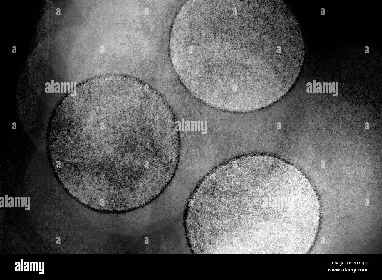 abstract monochrome image of a three circles - Stock Image