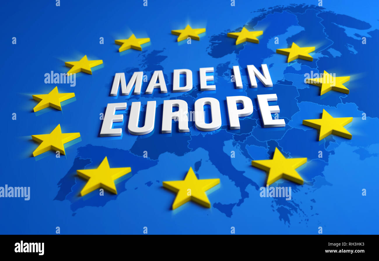 Made in Europe - Guarantee label of European Union with yellow stars on blue background, a map of the continent behind. - Stock Image