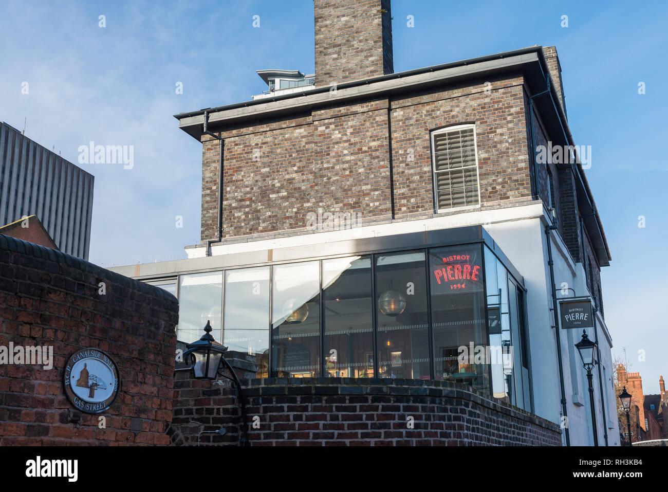Bistrot Pierre french restaurant in Gas Street Basin, Birmingham - Stock Image