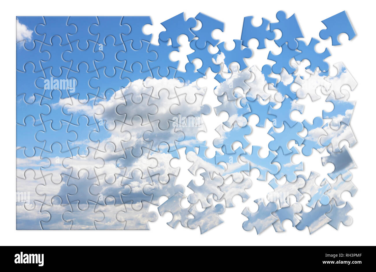 Climate changes concept image with a cloudy sky in puzzle shape - Stock Image