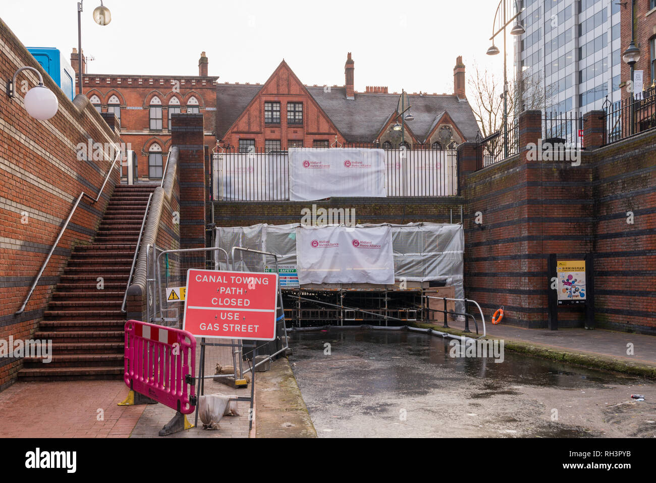 Canal and towpath under Broad Street, Birmingham is closed whilst work is undertaken for the extension of birmingham tram network - Stock Image