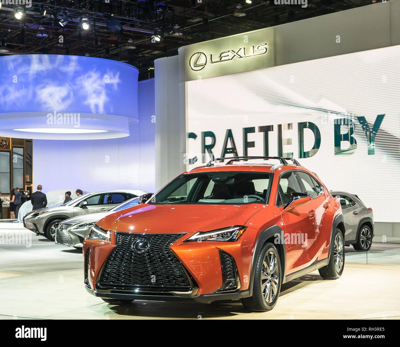 DETROIT, MI/USA - JANUARY 14, 2019: A 2019 Lexus UX 200 at the North American International Auto Show (NAIAS). - Stock Image
