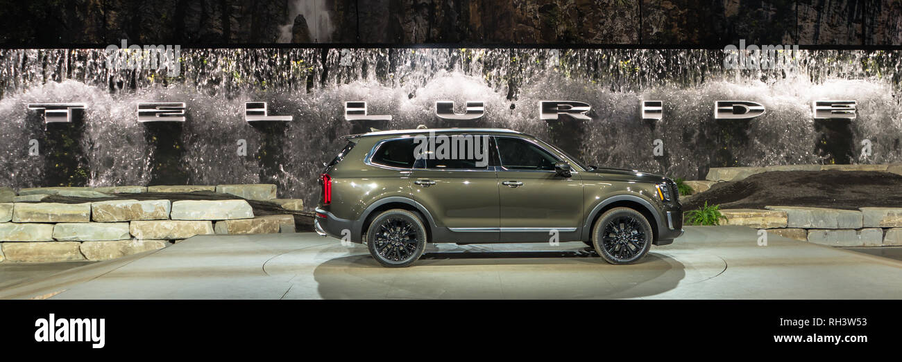 North American Auto Show 2020.Detroit Mi Usa January 14 2019 A 2020 Kia Telluride Suv