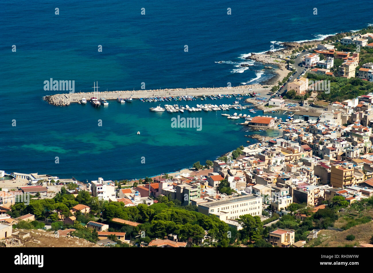 Aerial view of Sferracavallo harbor and town from the top of Pizzo Manolfo in Palermo, Sicily, Italy. Stock Photo
