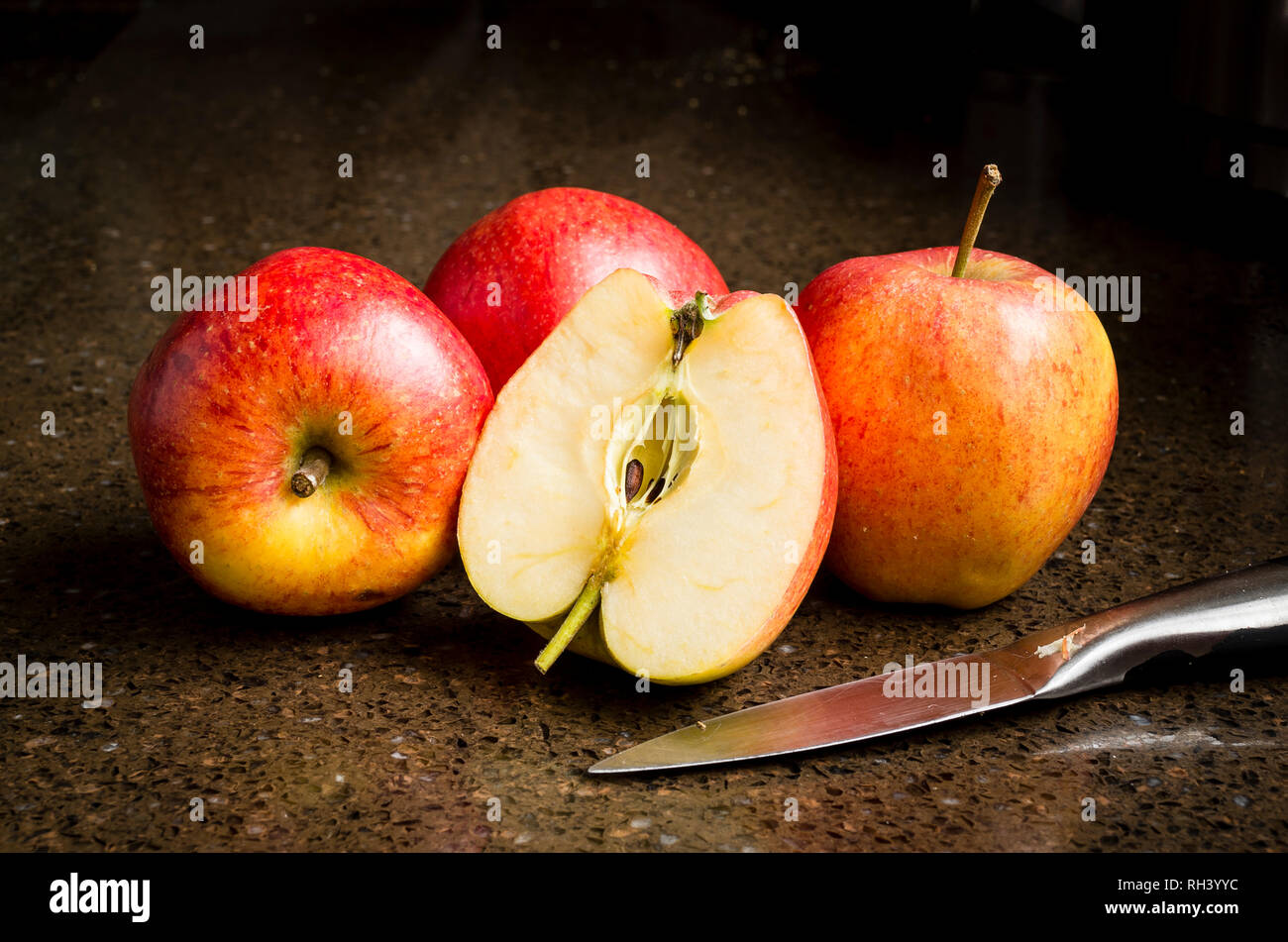 Best of British Daliclass eating apples ready for consumption in the winter in UK - Stock Image