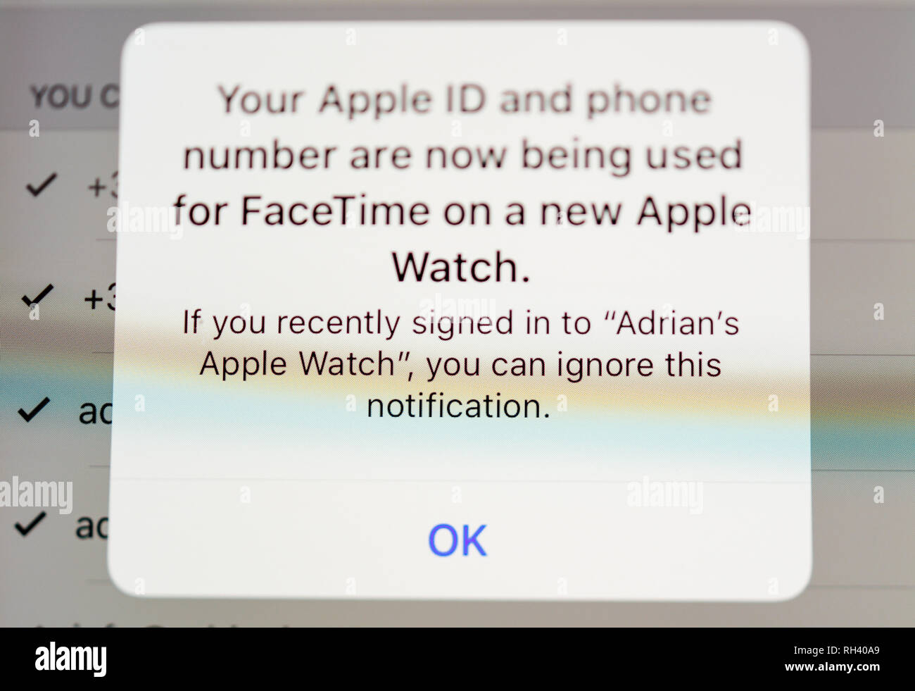 Paris, France - Jan 30, 2018: Your Apple id and phone number