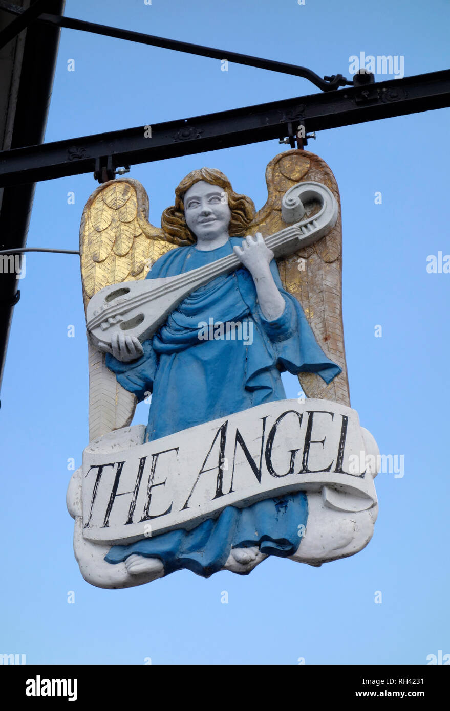 Sign for the Angel, Lavenham, Suffolk - Stock Image