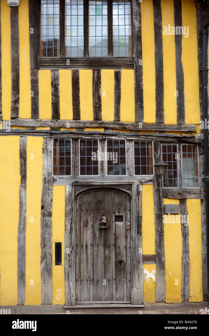 Front door of a timber-framed house in Lavenham, Suffolk - Stock Image