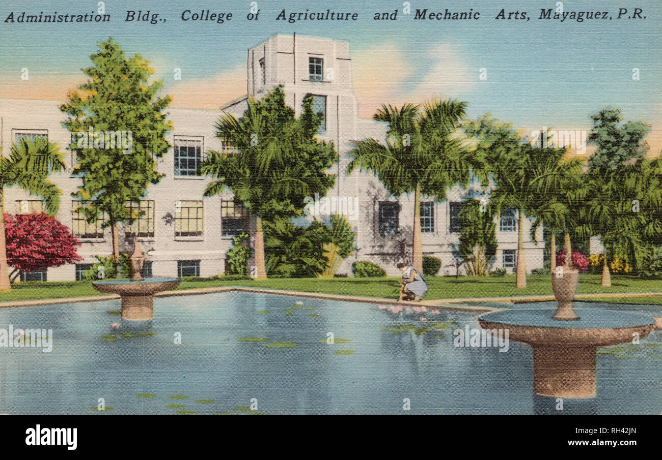 Administration Building, College of Agriculture and Mechanic Arts, Mayagüez Puerto Rico, old postcard. - Stock Image
