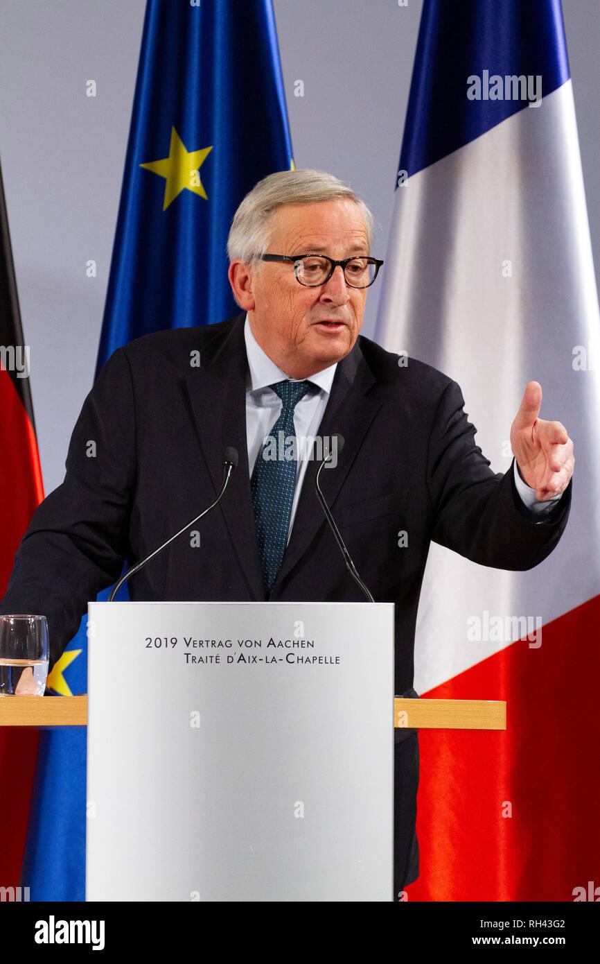 Jean-Claude Juncker bei der Erneuerung des deutsch-französischen Freundschaftsvertrages im Rathaus. Aachen, 22.01.2019 - Stock Image