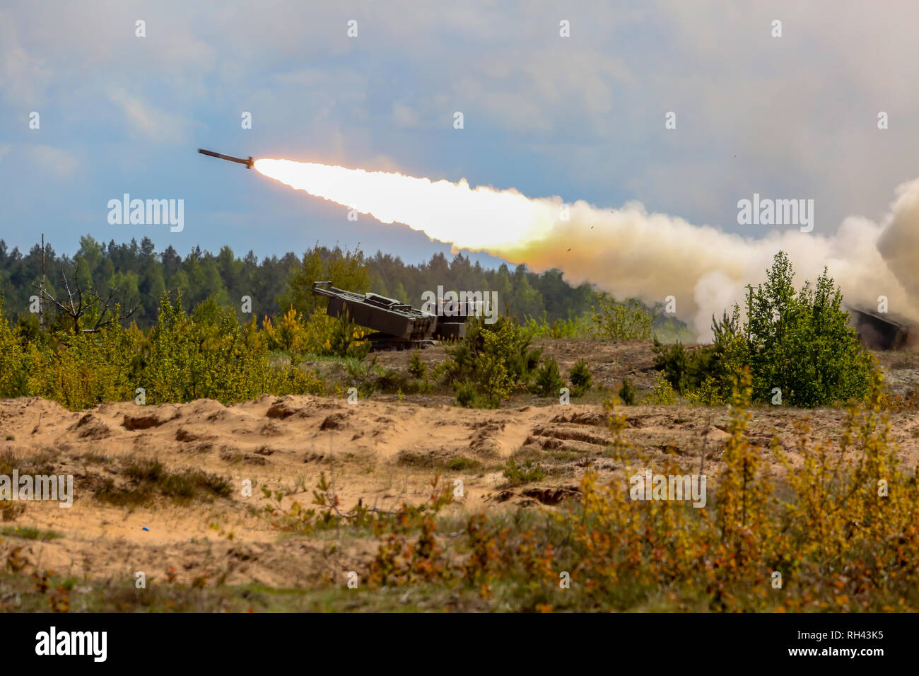 Rocket launcher with Himars. NATO soldiers and military equipment in Latvia. International Military Training 'Saber Strike 2017', Adazi, Latvia, from  - Stock Image