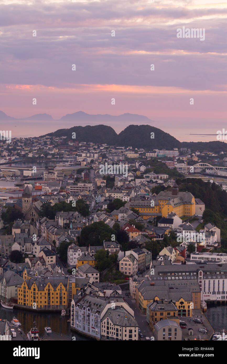 Beautiful city of Ålesund an its fiord in the Møre og Romsdal County, Norway. It is part of the traditional district of Sunnmøre. - Stock Image