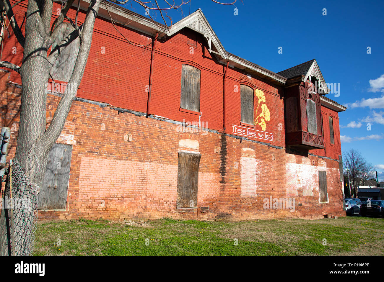 CHARLOTTE, NC, USA-1/24/19: Built in 1887, this vacant Victorian home is the last standing rowhouse in Charlotte. This is rear view. Front available. - Stock Image