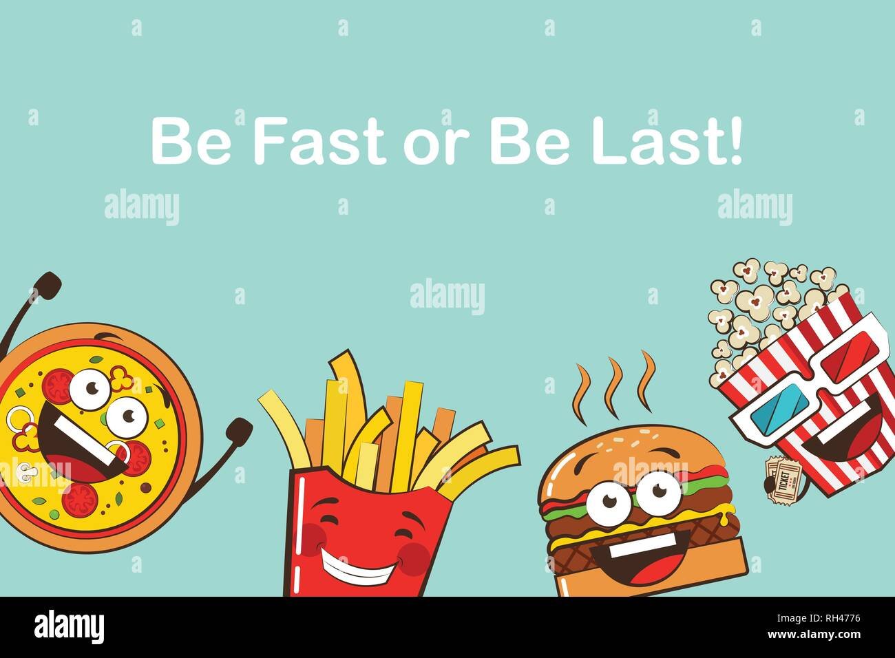 Set Of Funny Fast Food Icons Cartoon Face Food Emoji Funny