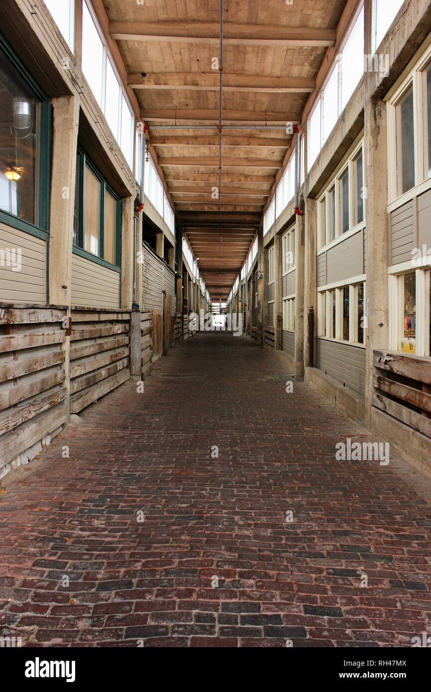 Long Rustic Wooden Walkway Shot With Perspective and Leading Lines - Stock Image