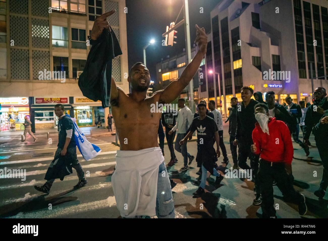 Ethiopian Israelis protest police violence in Tel Aviv - Stock Image