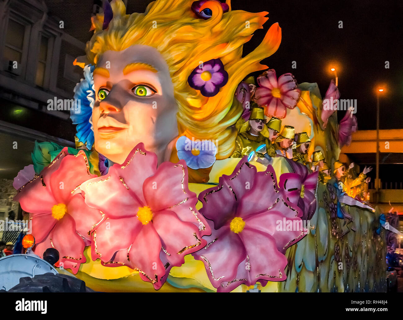 A float rolls down St. Charles Avenue at the Krewe of Hermes Mardi Gras parade at Lee Circle, Feb. 28, 2014, in New Orleans, Louisiana. Stock Photo