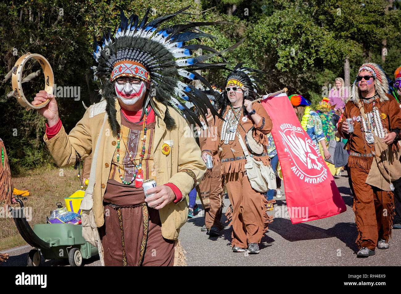 A costumed group participates in Dauphin Island's first People's Parade during Mardi Gras, Feb. 4, 2017, in Dauphin Island, Alabama. - Stock Image