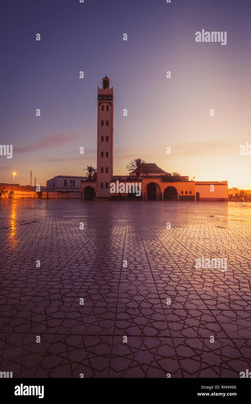 Eddarham Mosque in  Dakhla. Dakhla, Western Sahara, Morocco. - Stock Image