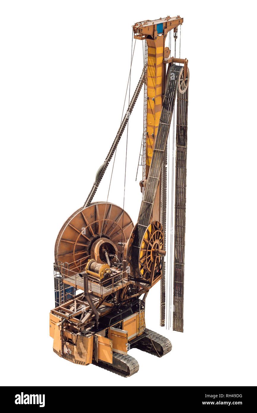 The image of a pile driver. Isolated on white - Stock Image