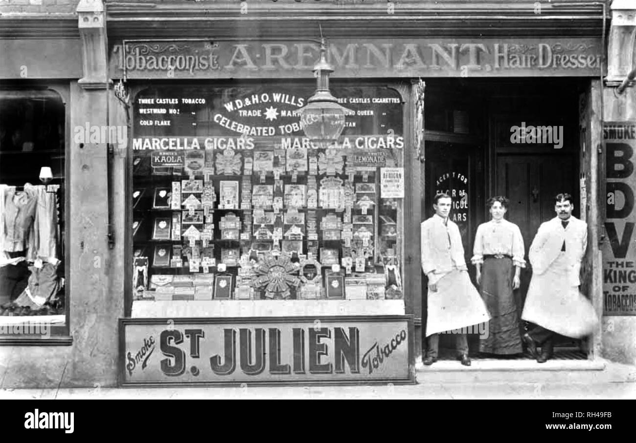LONDON TOBACCONIST AND HAIRDRESSER SHOP about 1890 - Stock Image