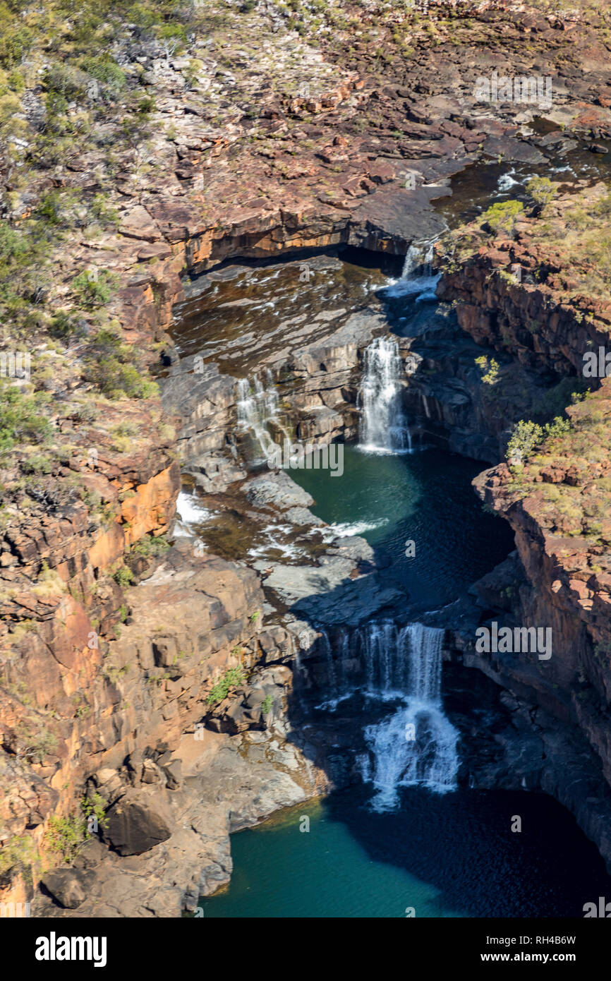 Mitchell Falls in the Mitchell Plateau, Australian Kimberley outback, Western Australia, Australia - Stock Image