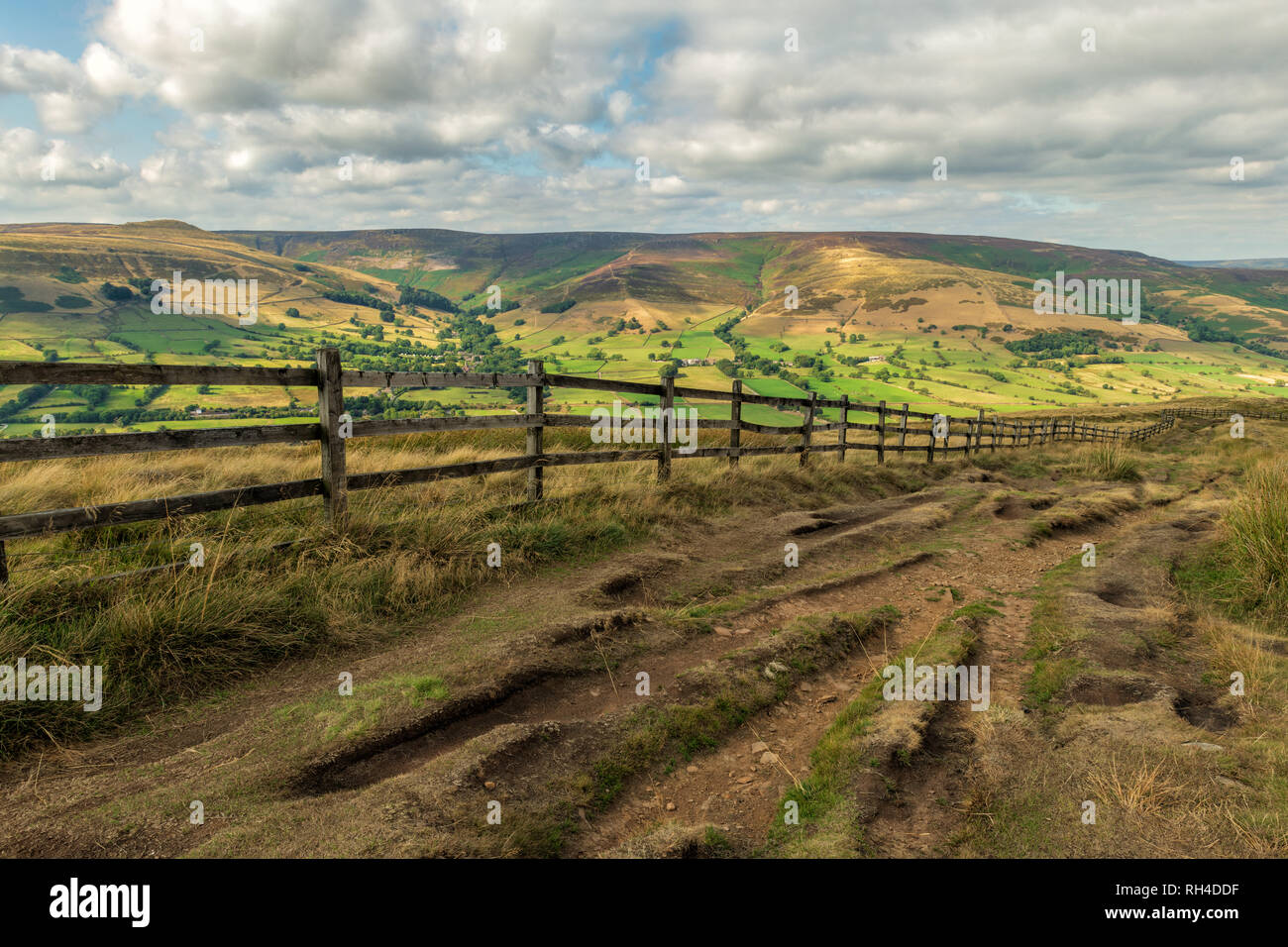 Edale viewed from Mam Tor. To achieve maximum depth of field I focus stacked two images together. - Stock Image