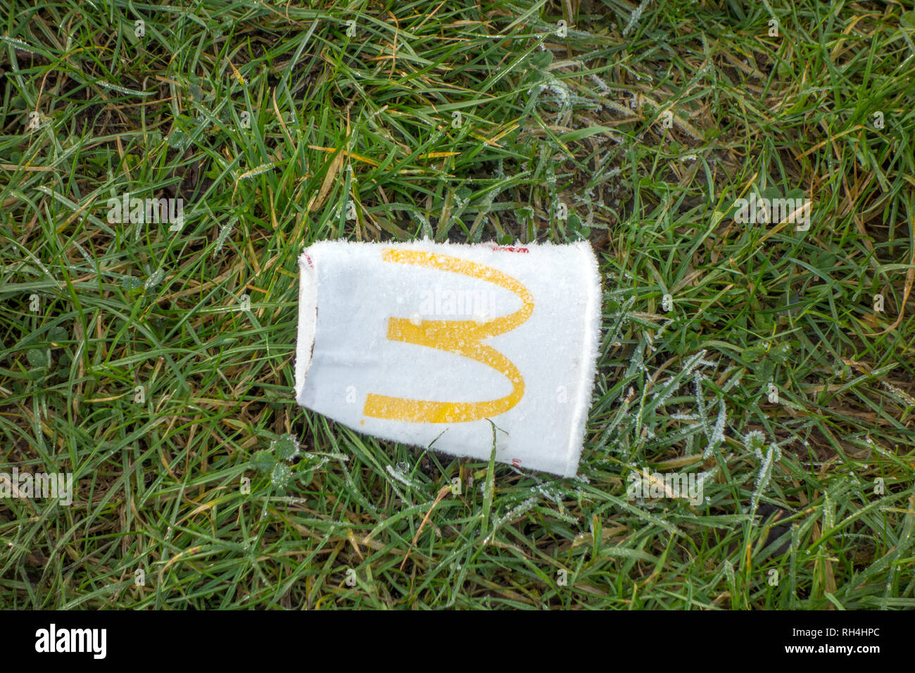 Rubbish discarded thrown away McDonald's  paper drinks cup left on frosty grass in the English countryside - Stock Image