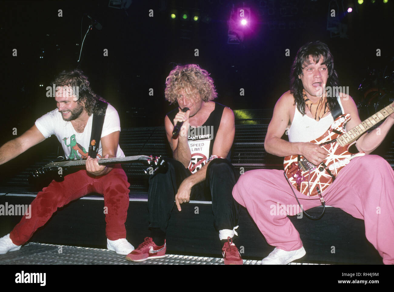 Van Halen American Rock Group About 1988 From Left Alex Van Halen David Lee Roth Eddie Van Halen Photo Jeffrey Mayer Stock Photo Alamy