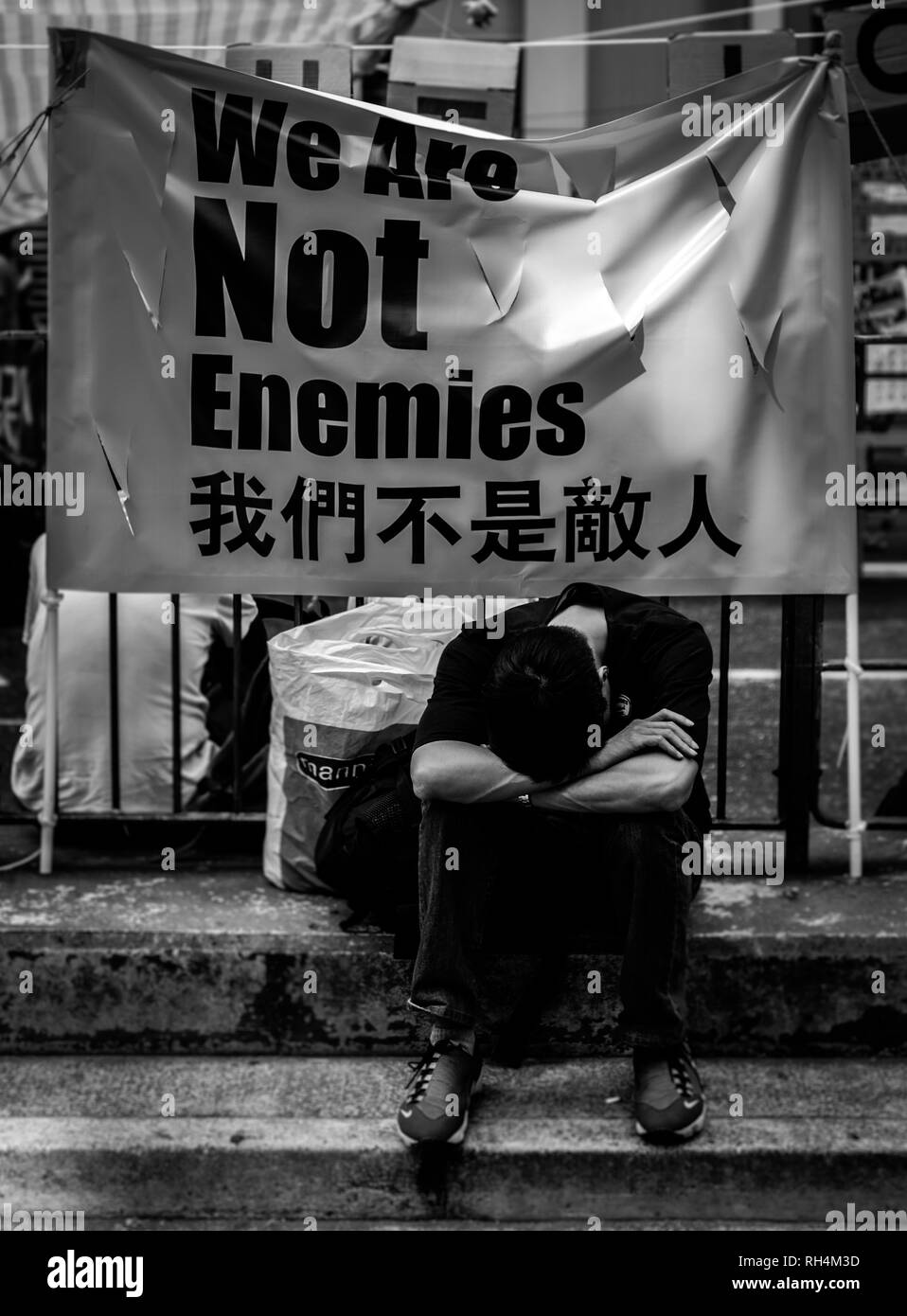 The Umbrella Movement was a political movement that emerged during the Hong Kong democracy protests of 2014. - Stock Image