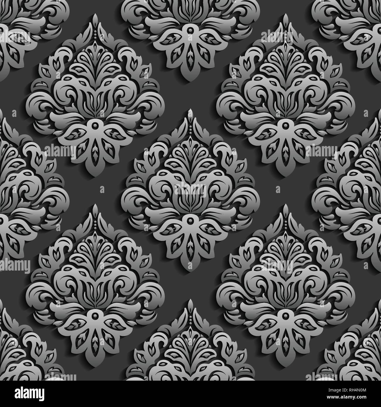 3d Dark Paper Cut Vector Damask Seamless Pattern Elegant Luxury