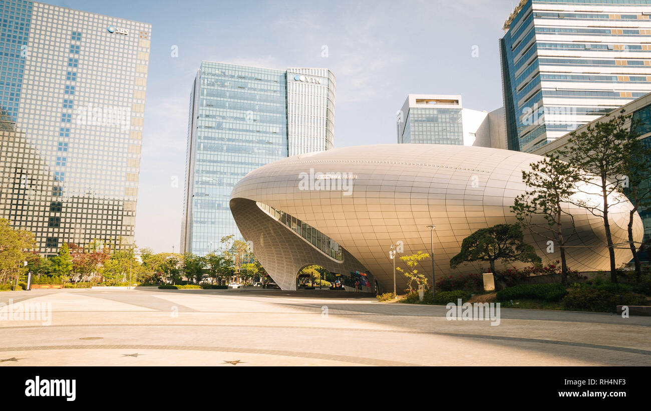 Buildings and architecture at MBC World, Sangam Culture Plaza, Seoul, South Korea - Stock Image