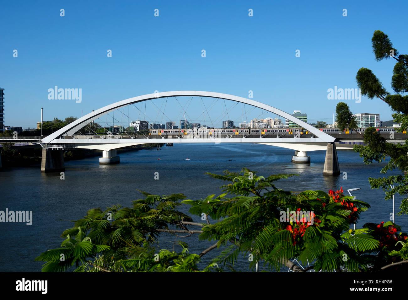 Brisbane River and Merivale Bridge, Brisbane, Queensland, Australia - Stock Image