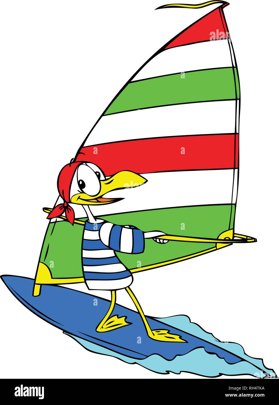 cartoon seagull wind surfing vector illustration - Stock Vector