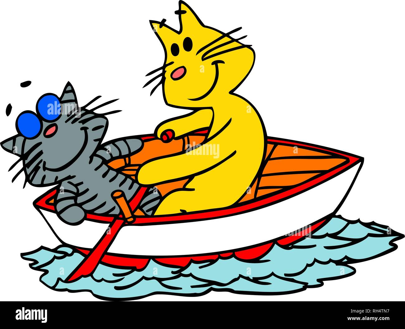 vector illustration of two cartoon cats traveling on a small boat - Stock Image