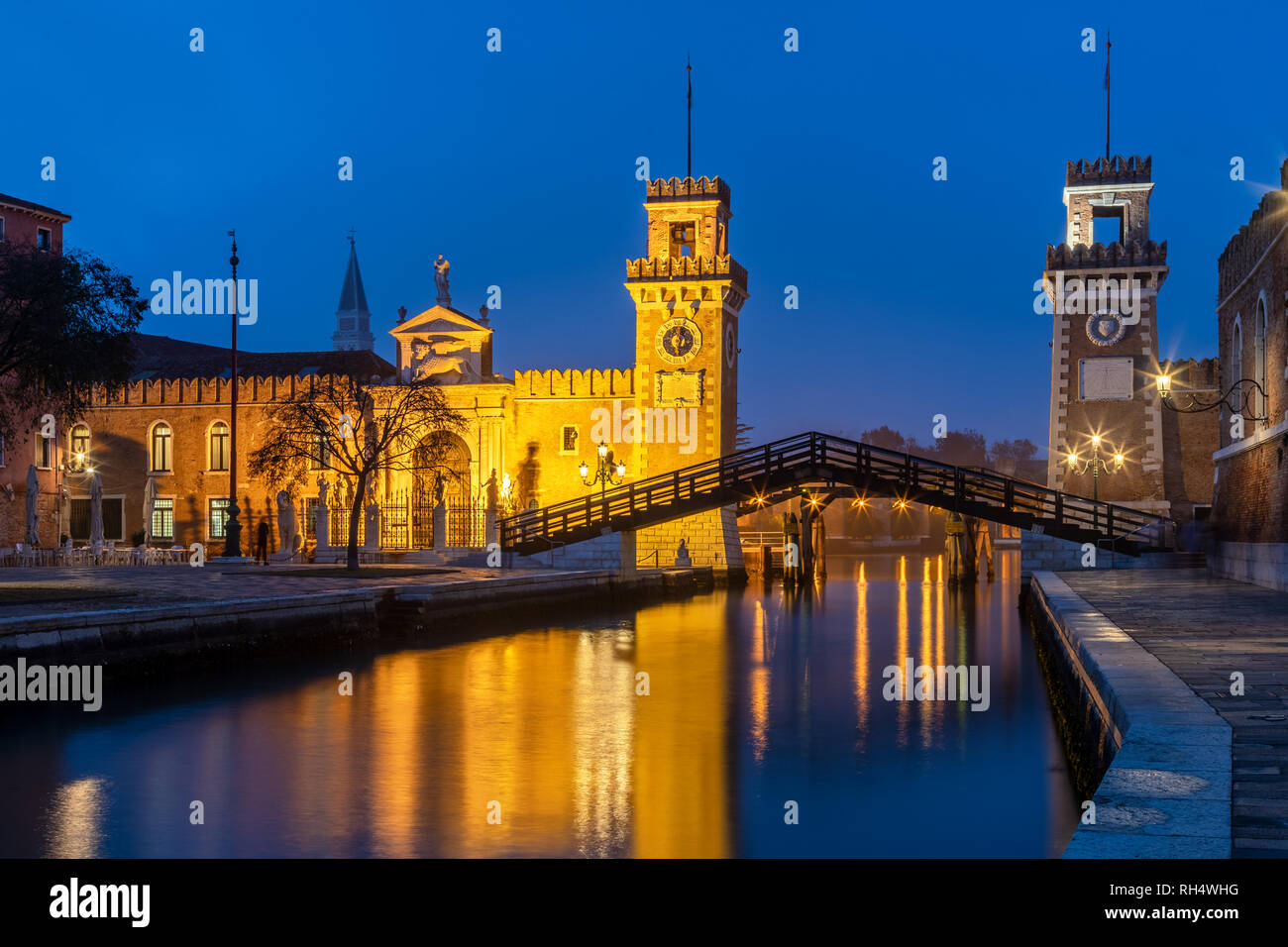 The Arsenale during the blue hour, Venice, Italy - Stock Image