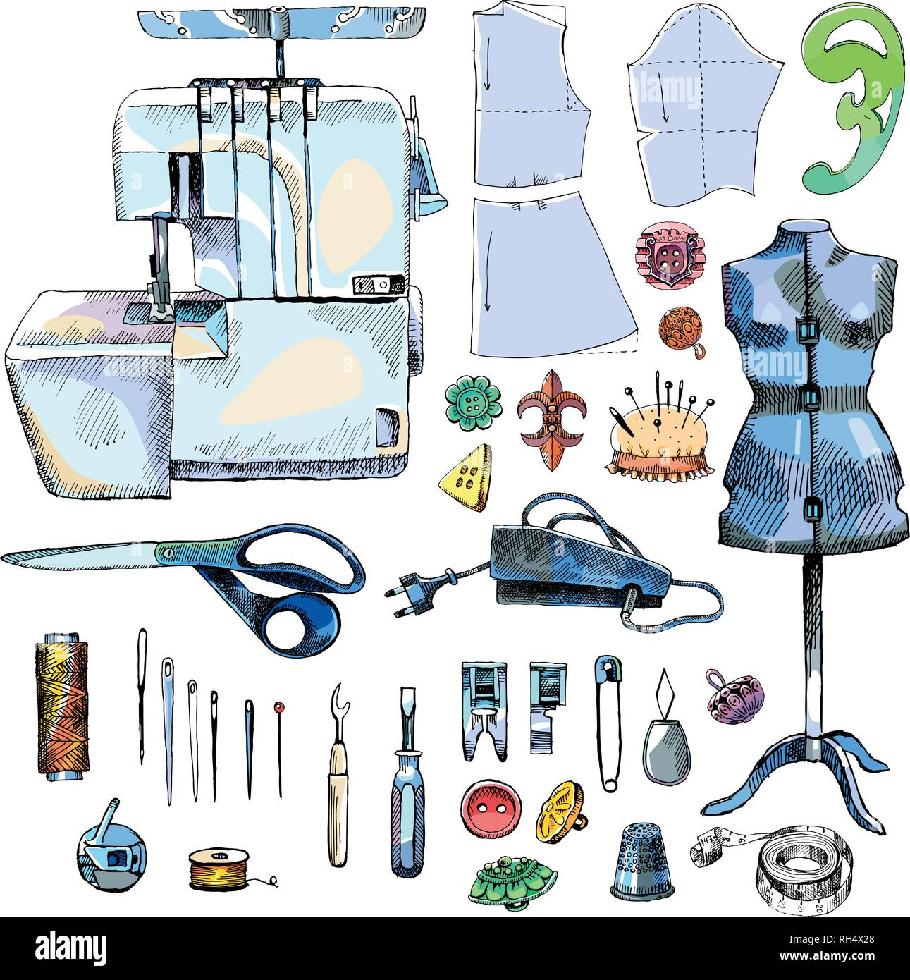 Tailor Shop Hand Drawn Equipment Set with overlock - Stock Vector