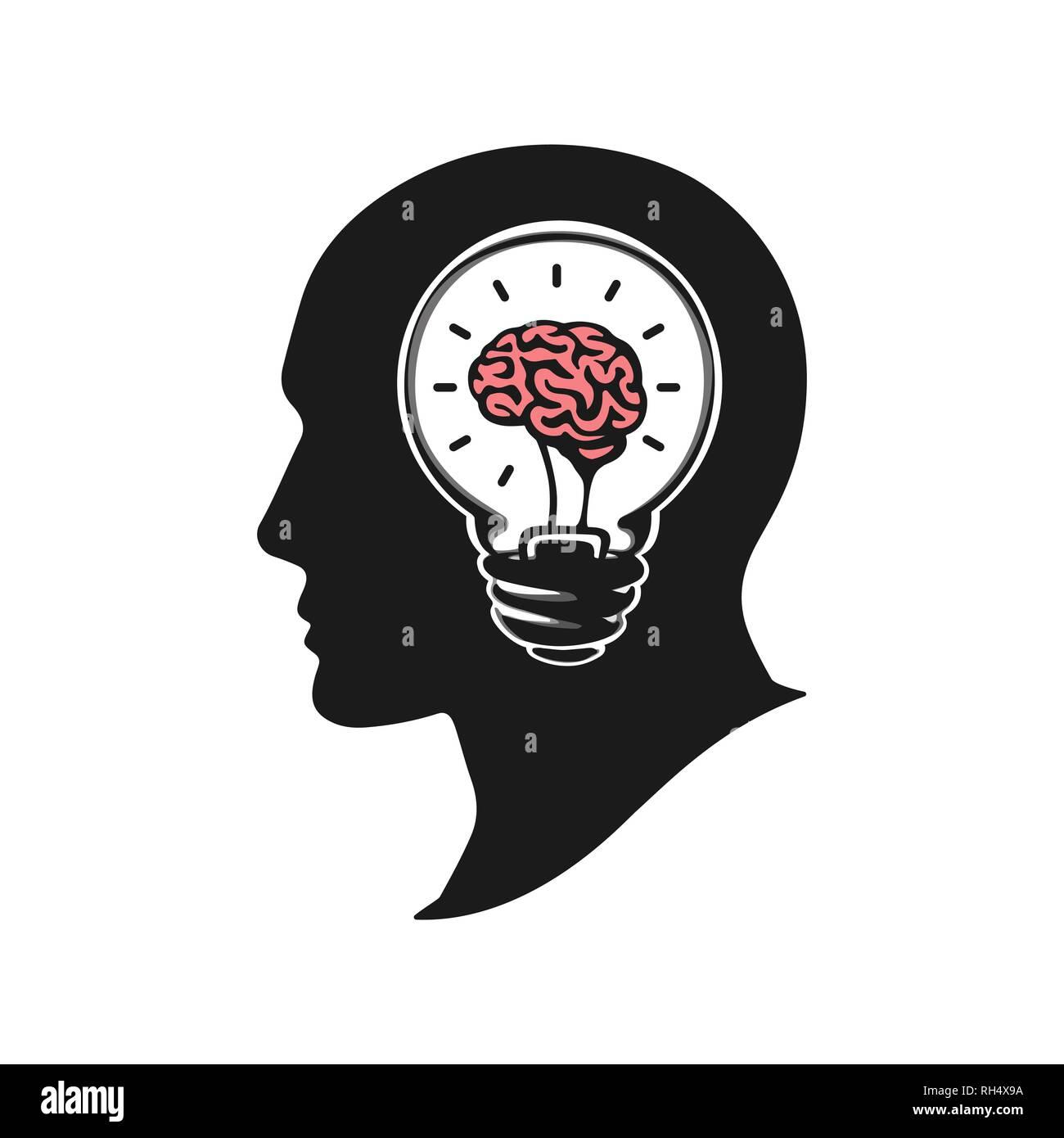 Head Silhouette Brain Stock Photos & Head Silhouette Brain