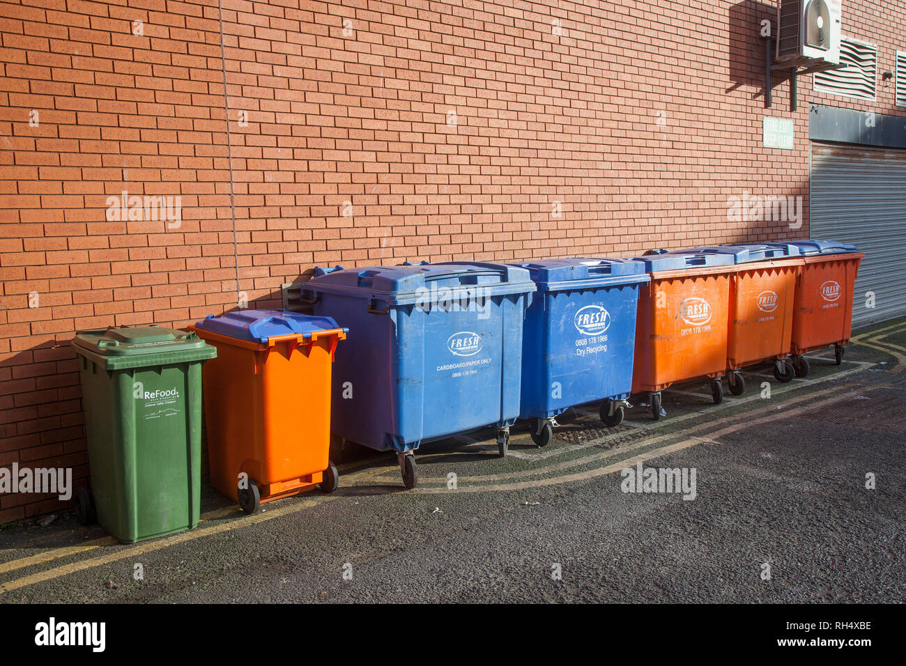 Dumpster, Wheelie Bins, Waste collection service, Blackpool, UK - Stock Image