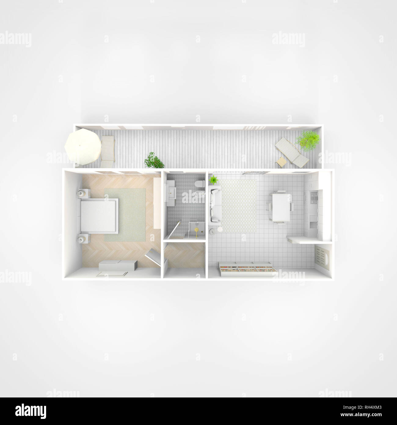 3d interior illustration rendering of furnished home apartment Stock Photo