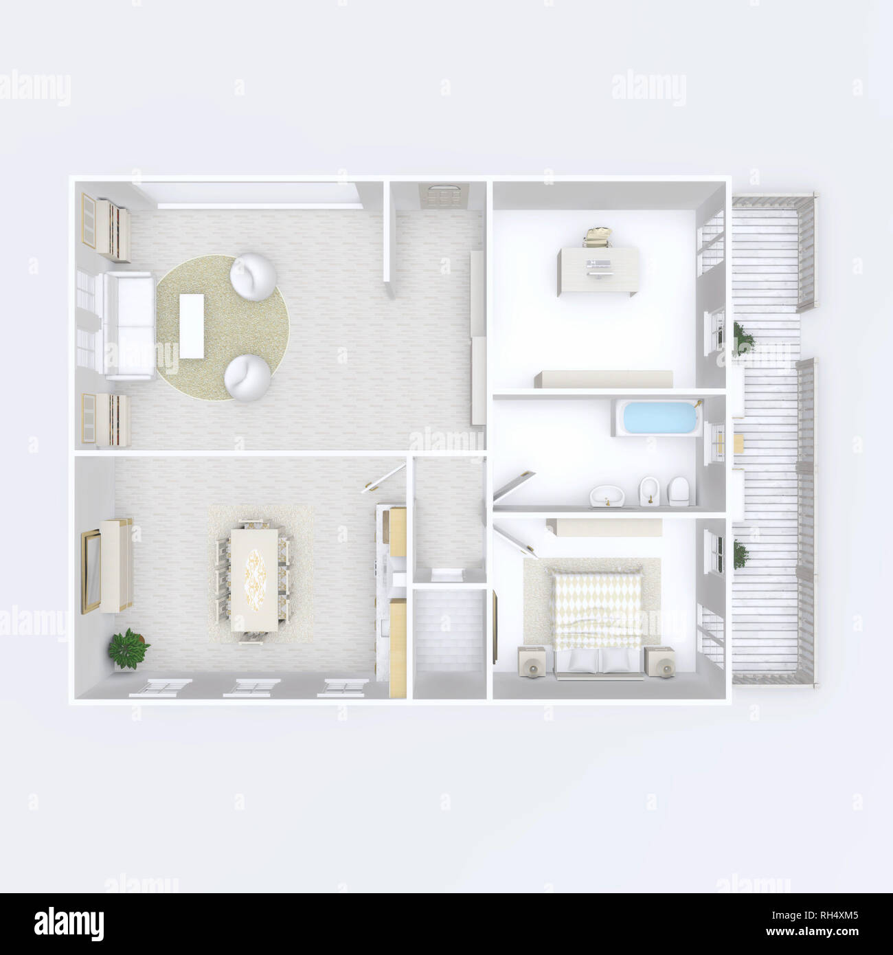 3d interior illustration rendering of furnished home apartment - Stock Image