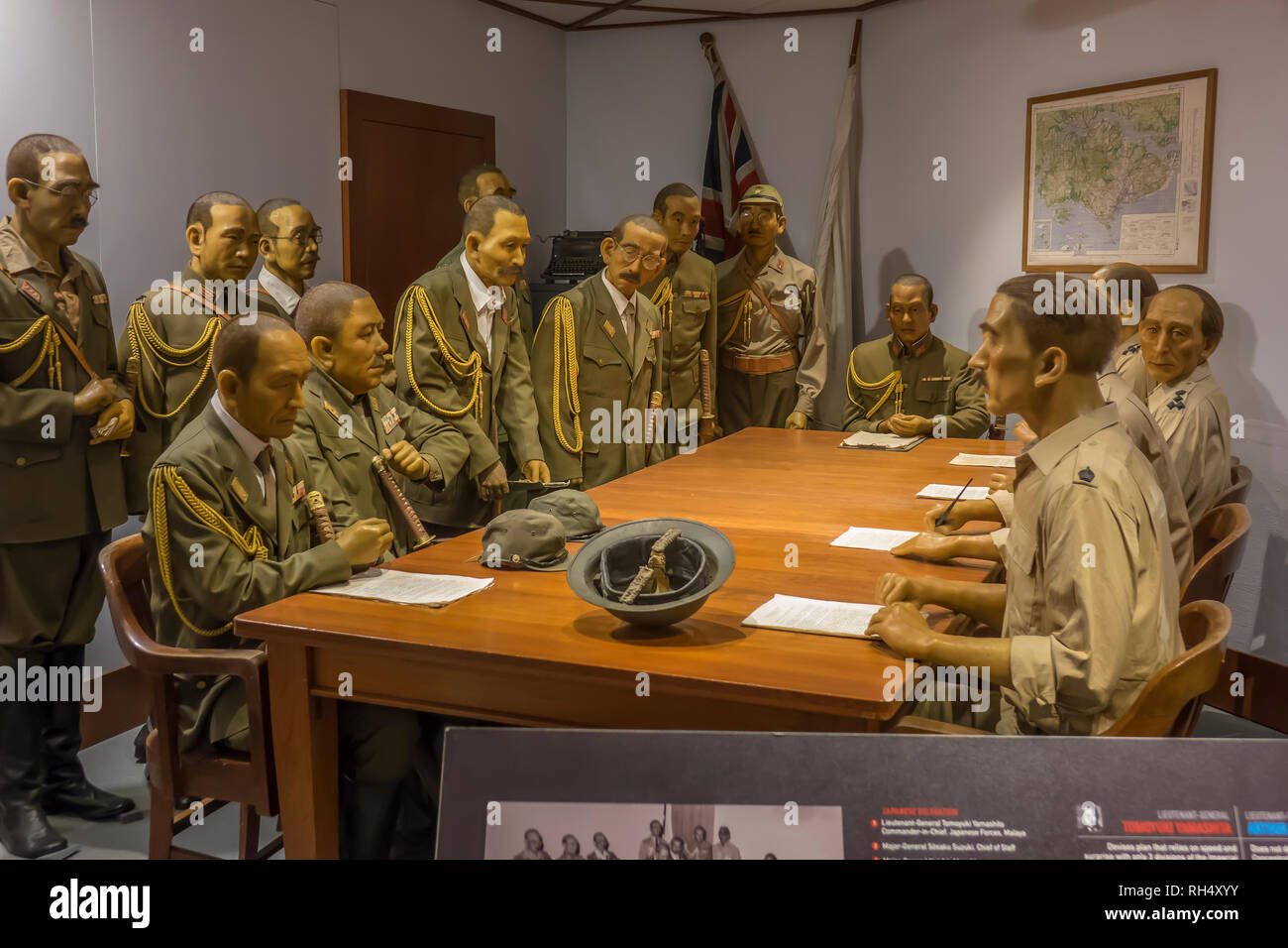 Singapore, Sentosa, Fort Siloso, tableau of 1942 surrender to Japanese Stock Photo