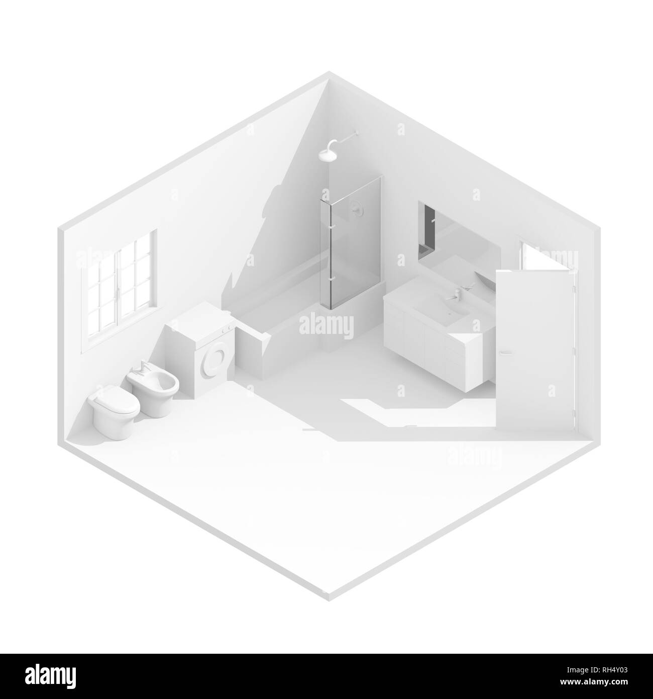3d isometric rendering illustration of white furnished bathroom - Stock Image